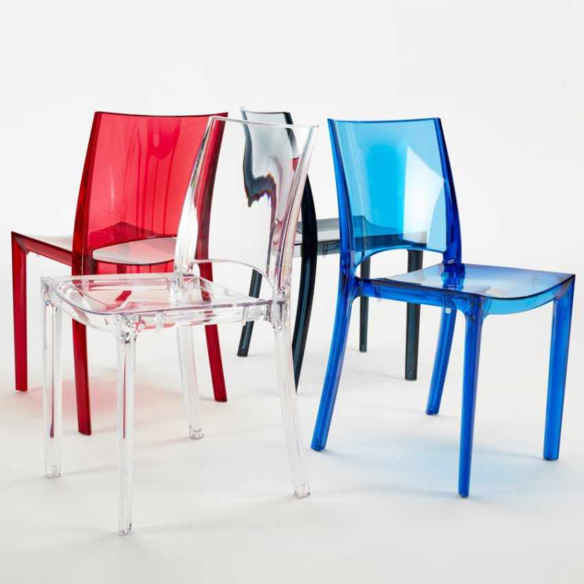 Sedia Impilabile Trasparente per Cucina Salotto Bar B-SIDE Grand Soleil - dettaglio