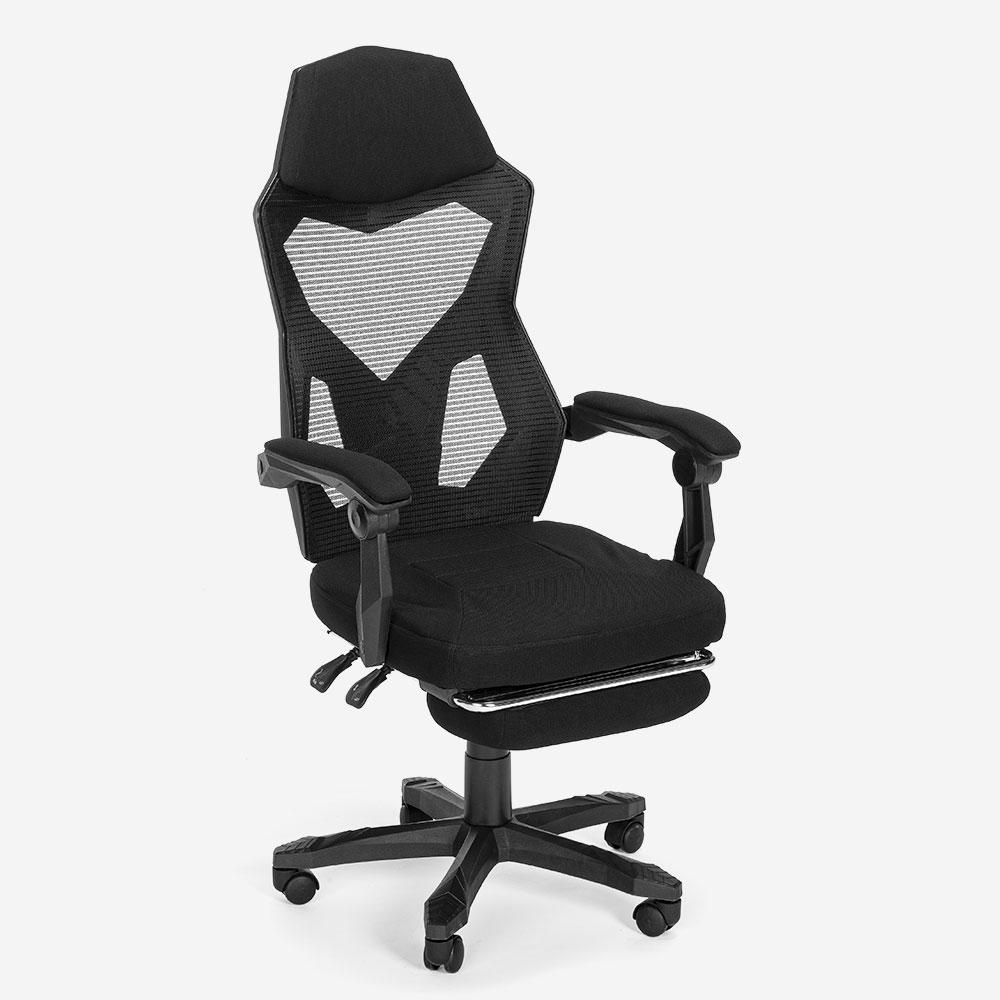 Sedia poltrona gaming design futuristico ergonomica traspirante poggiapiedi Gordian Plus Dark