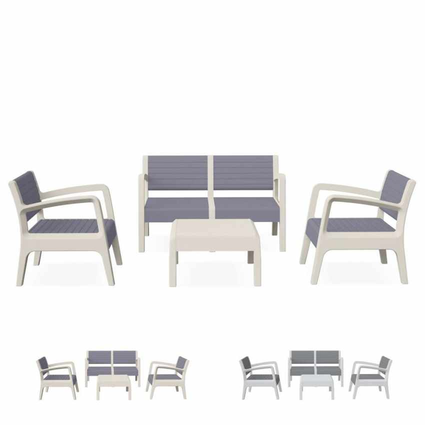 Salon de jardin en résine exterieur bar table coussins cafè dossier ...