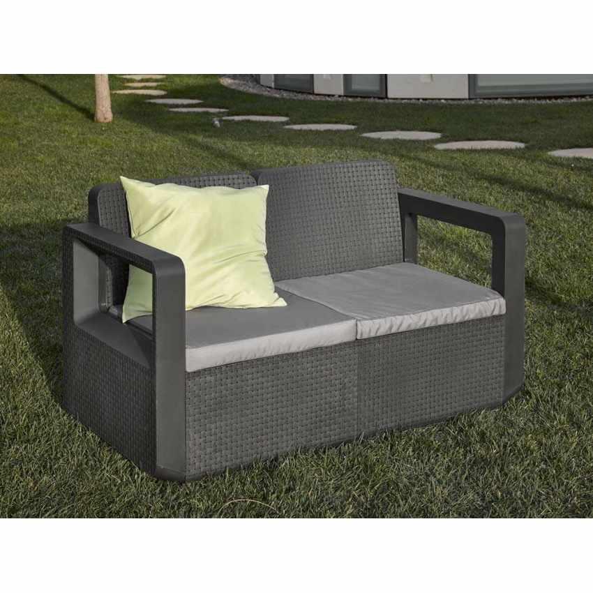 Salotto da giardino Polyrattan schienale rialzato 4 posti  poltrone + divano VENUS - dettaglio