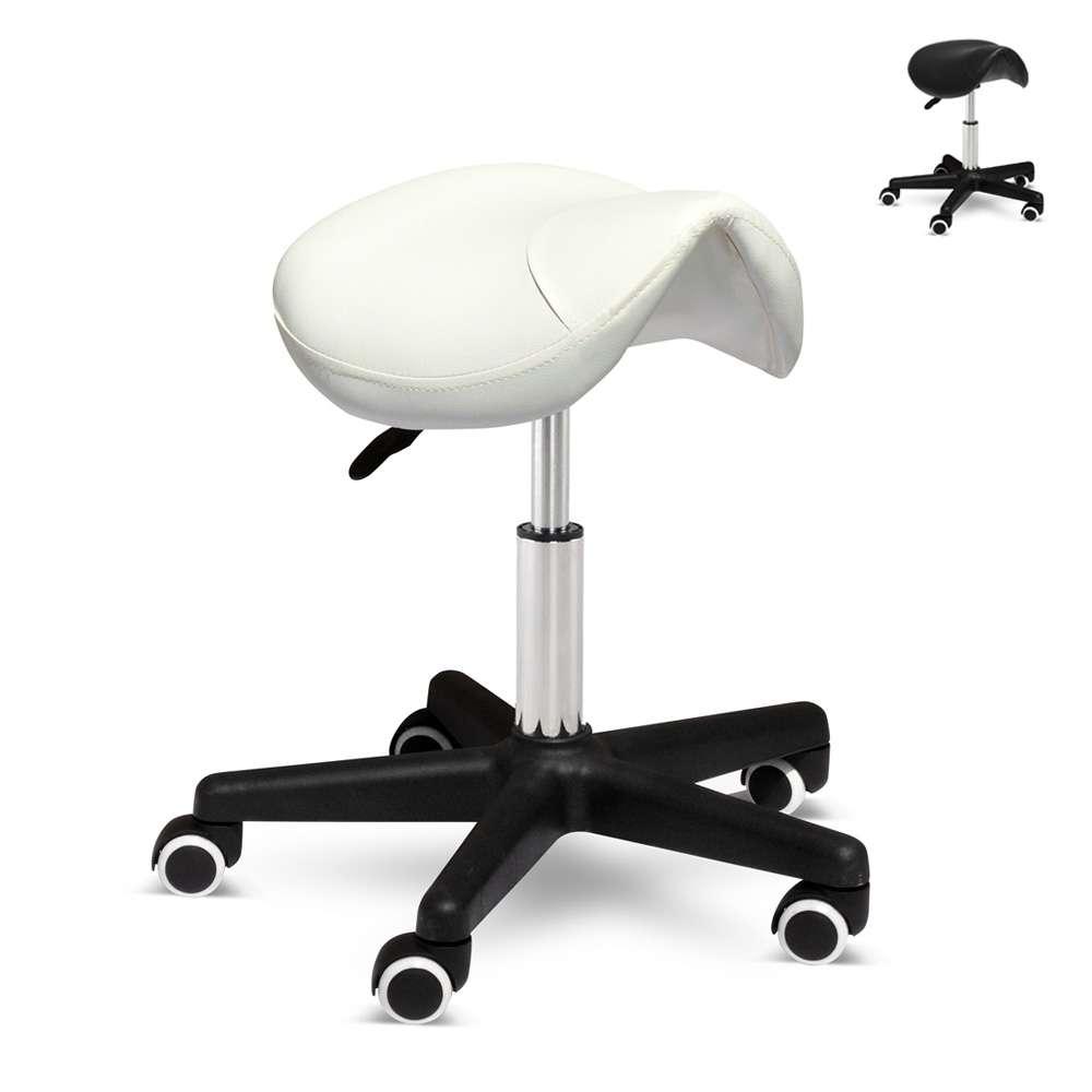 LM200SGA - Sgabello con ruote estetista manicure pedicure ecopelle sella cavallo ProFESSIONAL -