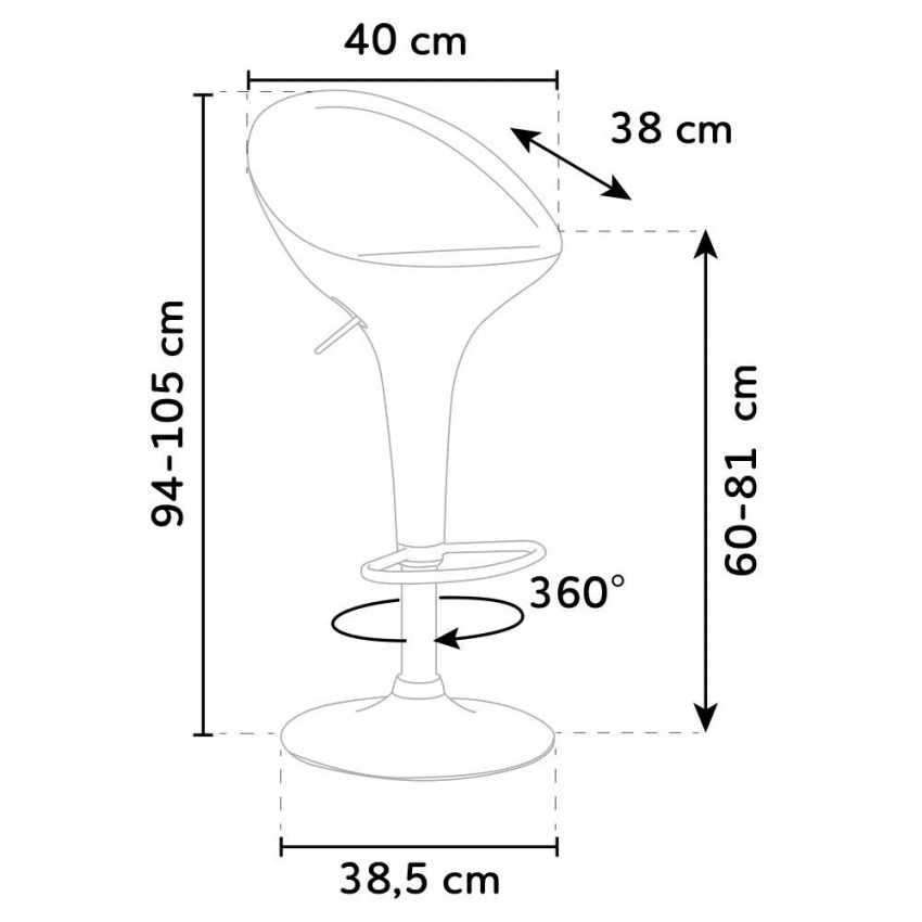 Sgabello Girevole dal Design Moderno per Bar Cucina Altezza Regolabile SAN DIEGO - prezzo