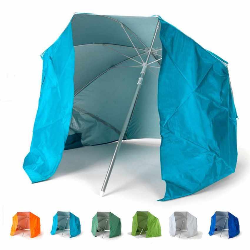 Ombrellone Da Spiaggia Per Moto.Ombrellone Portatile Con Tenda Incorporata 200 Cm Leggero In