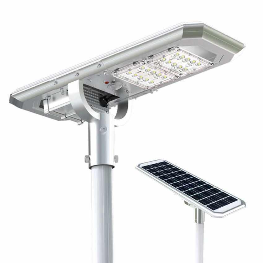 Lampione LED a Energia Solare 2000 Lumen con Pannello Solare e Sensori per Strade Piazze Parcheggi ATLAS - indoor