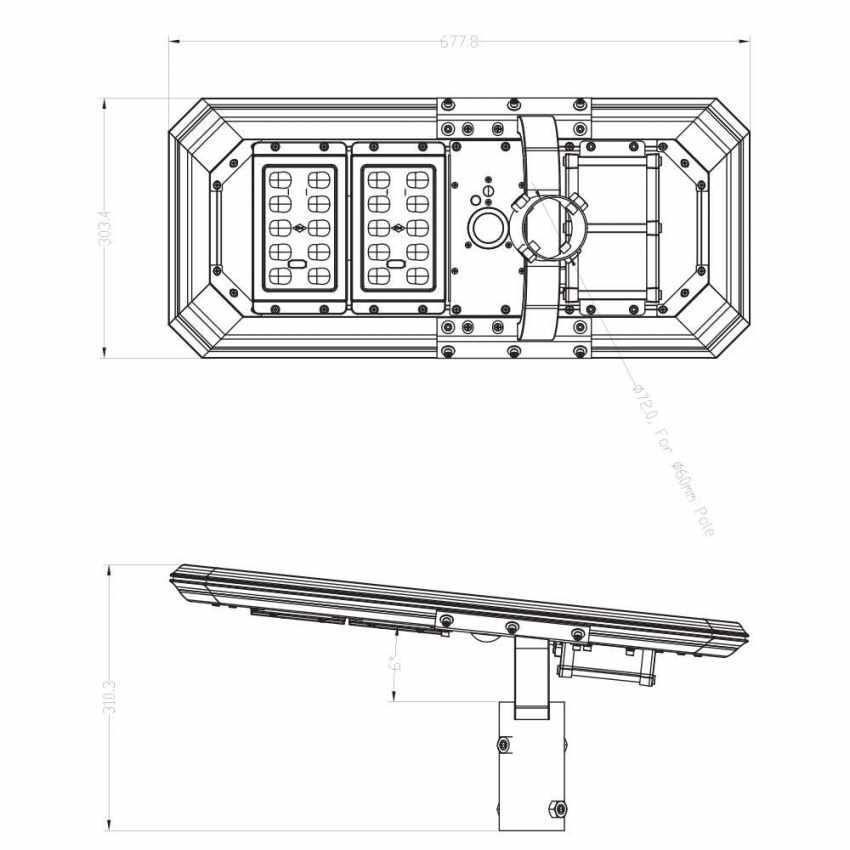Lampione LED a Energia Solare 2000 Lumen con Pannello Solare e Sensori per Strade Piazze Parcheggi ATLAS - sales