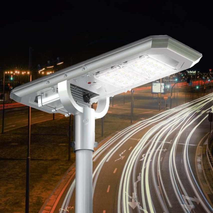 Lampione LED a Energia Solare 2000 Lumen con Pannello Solare e Sensori per Strade Piazze Parcheggi ATLAS - image