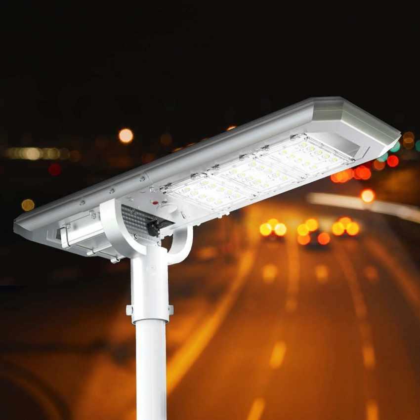 Lampadaire routier LED à Énergie Solaire 3000 Lumens avec Panneau Intégré et Capteur TERMINATOR - offert