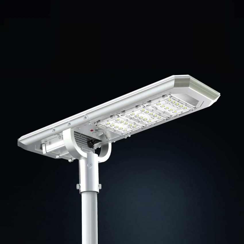 Lampione Stradale LED a Energia Solare 3000 Lumens con Pannello Integrato TERMINATOR - foto