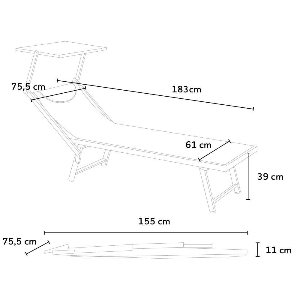 Bain-de-soleil-transat-professionnel-chaise-longue-piscine-aluminium-ITALIA miniature 21