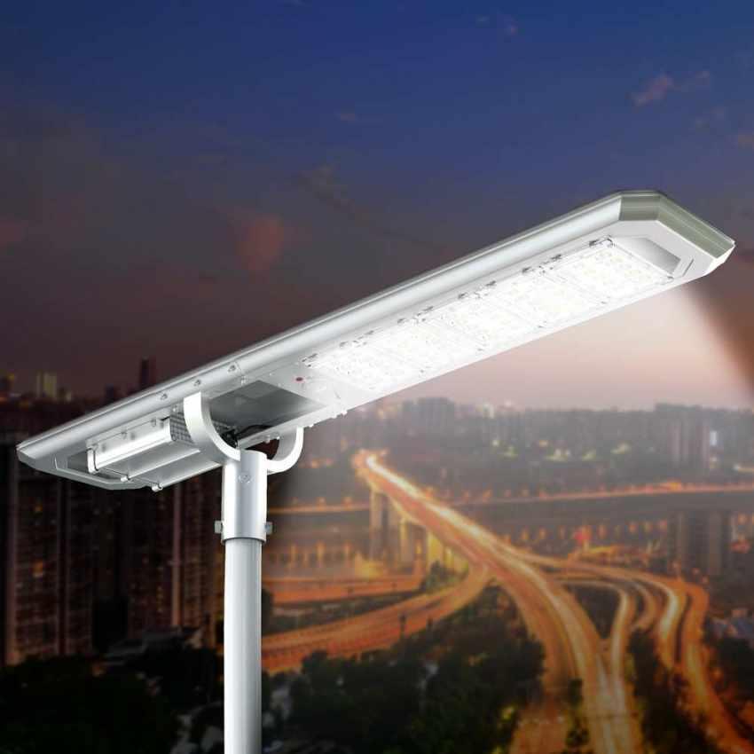 Lampione LED a Energia Solare 5000 Lumen Pannello Fotovoltaico Integrato per Giardino Parcheggio Strada GOLDRAKE - image