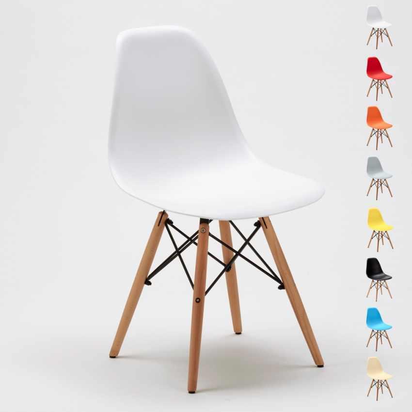Chaise WOODEN Eiffel Design salle à manger bar scandinave bois polypropylène - best