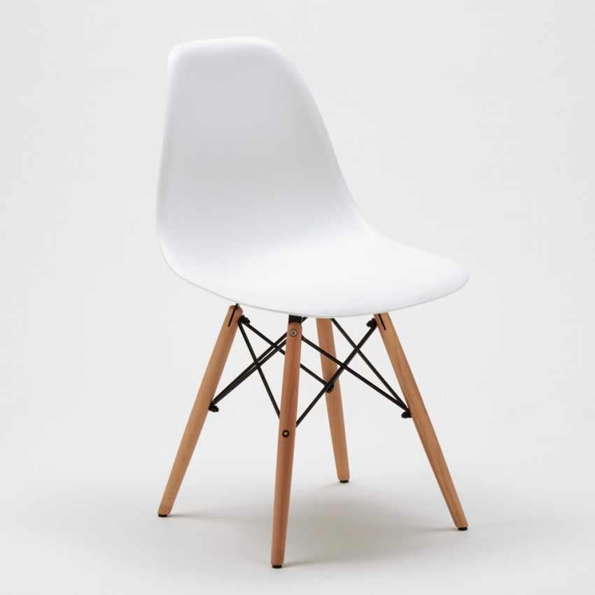 Chaise WOODEN Eiffel Design salle à manger bar scandinave bois polypropylène - indoor