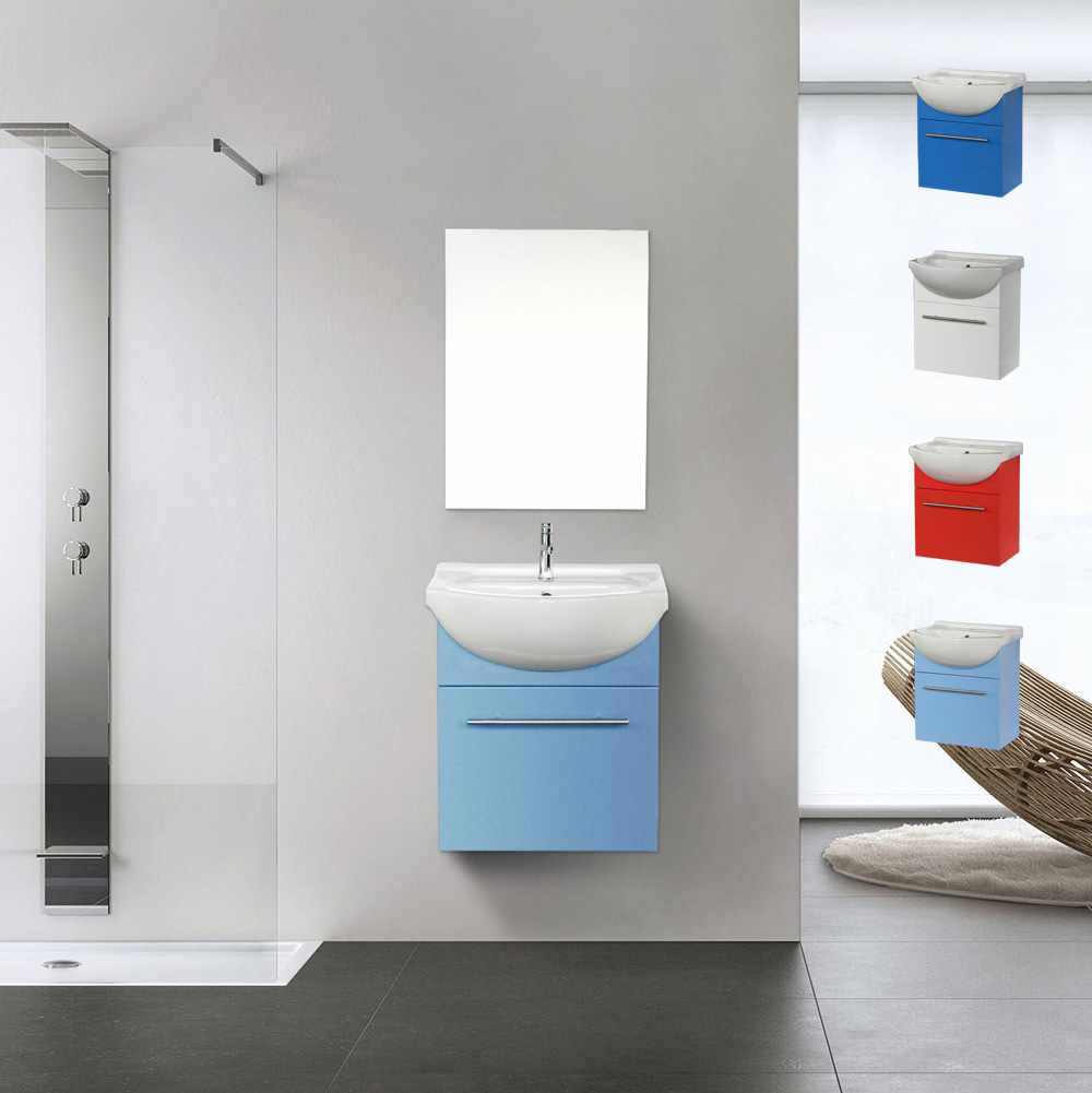 Mobile bagno con specchio sospeso con lavabo in ceramica Andromeda - forniture