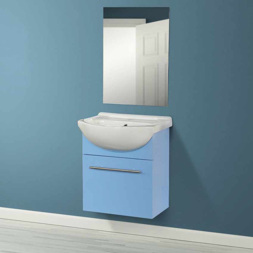 Complete Bathroom Set with Mirror Cabinet Sink in Lacquered Ceramic - foto