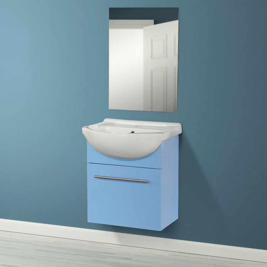 Déco pour la salle de bain Complet de Meuble Évier et Miroir en Céramique et Acier Inox - image