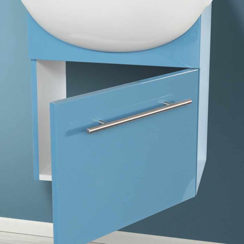 Mobile bagno sospeso lavabo in ceramica specchio design Andromeda - interno