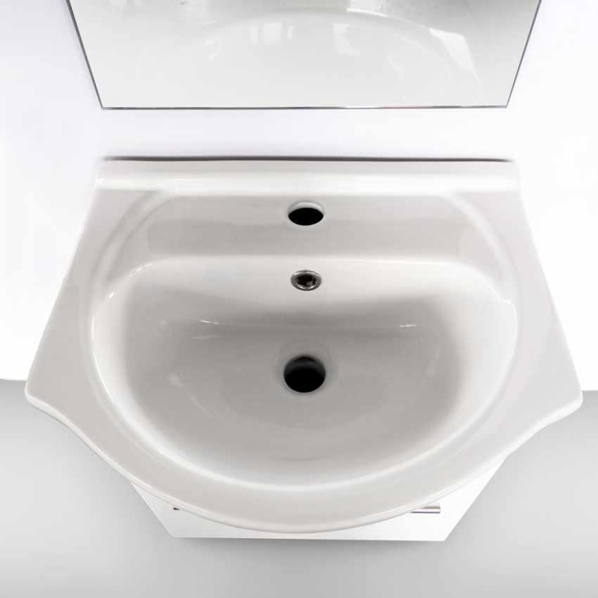 Mobile bagno sospeso lavabo in ceramica specchio design Andromeda - dettaglio