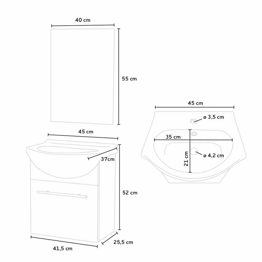 Complete Bathroom Set with Mirror Cabinet Sink in Lacquered Ceramic - immagine