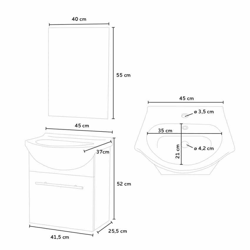 Mobile bagno sospeso lavabo in ceramica specchio design Andromeda - migliore
