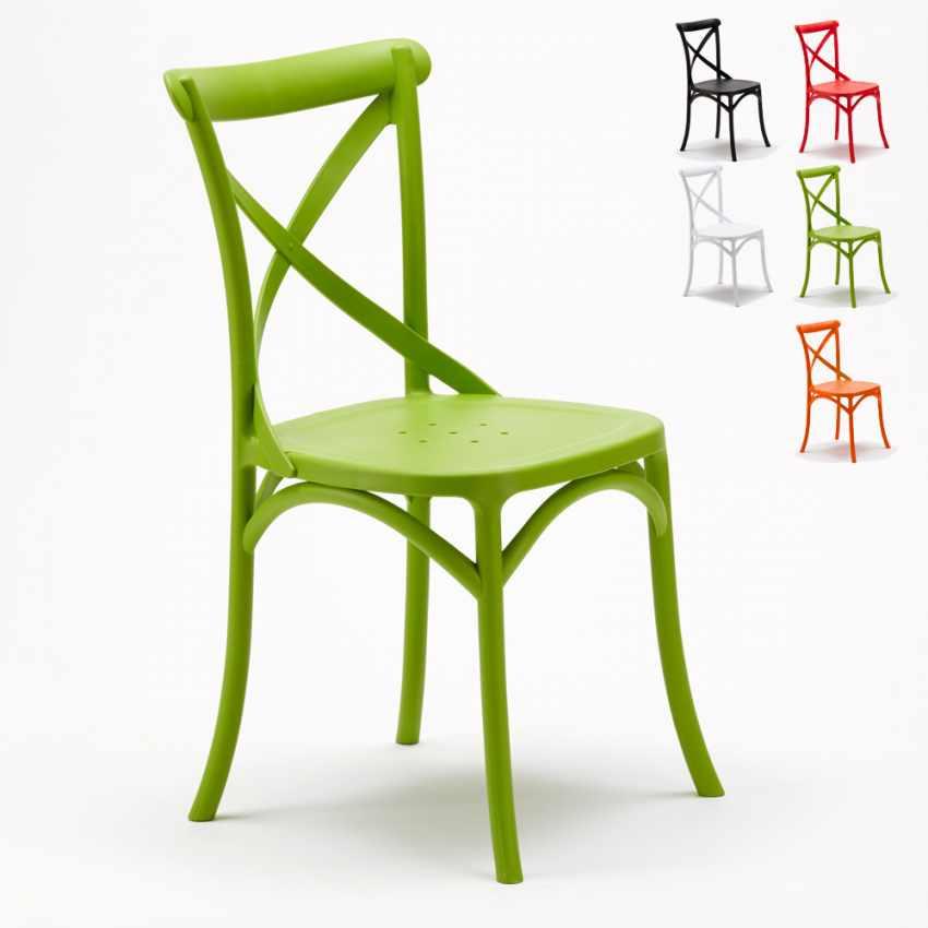 Chaise en polypropyl ne de cuisine restaurant vintage paysan cross design - Chaises cuisine couleur ...