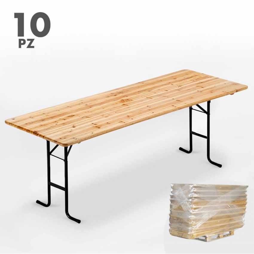 Set 10 Tavoli in legno per set birreria 220x80 feste giardino - promo