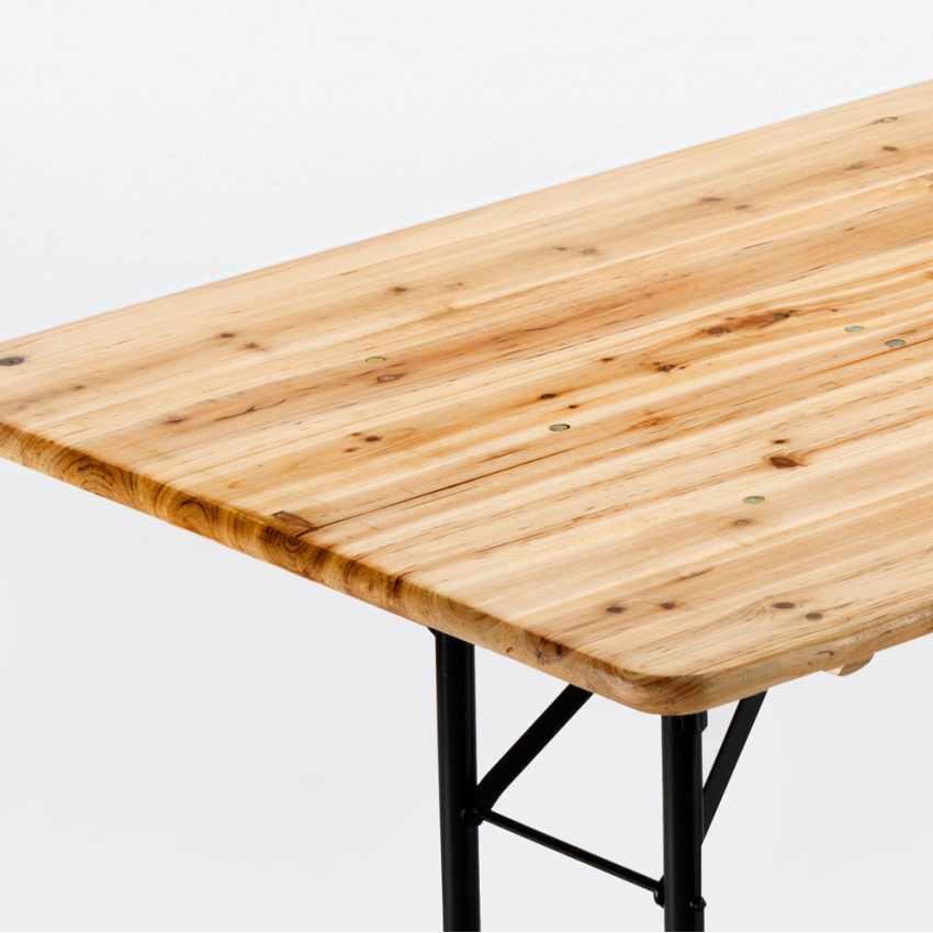 Set 10 Tavoli in legno per set birreria 220x80 feste giardino - vendita