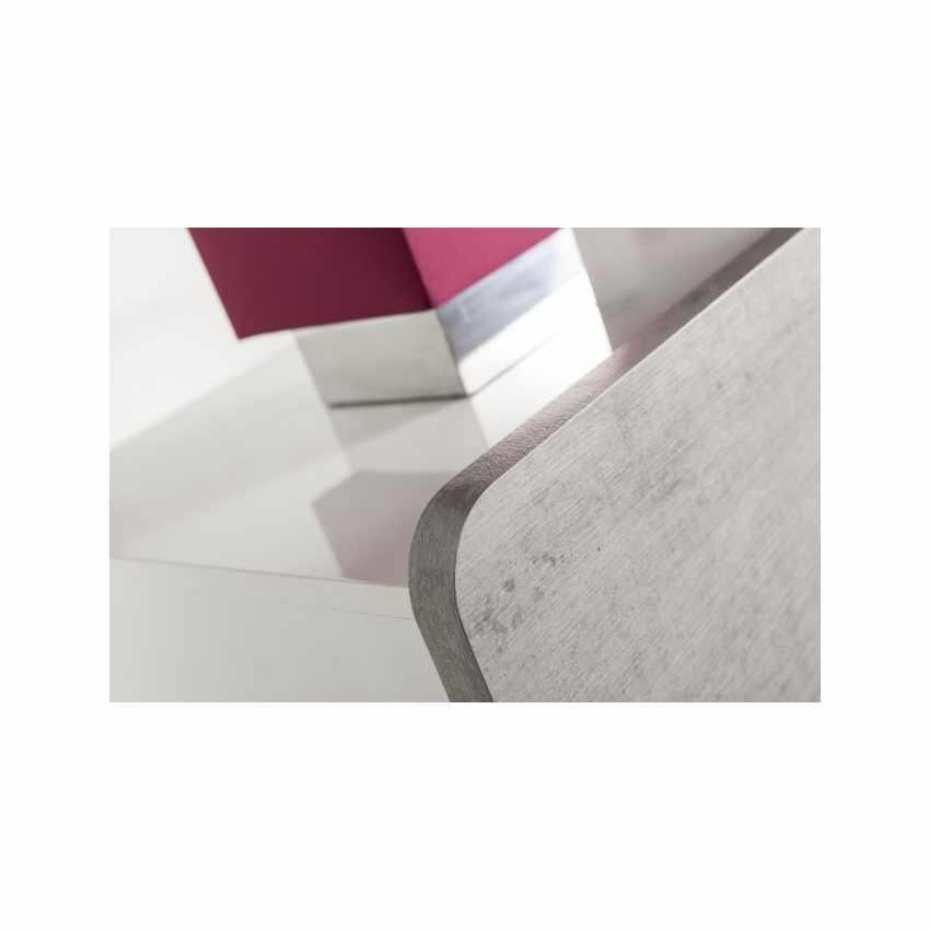 Comodino Comò Bianco Lucido 3 Cassetti Effetto Cemento Design Moderno - discount