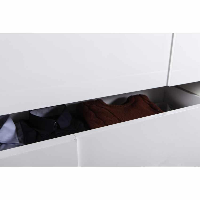 Comodino Comò Bianco Lucido 3 Cassetti Effetto Cemento Design Moderno - photo