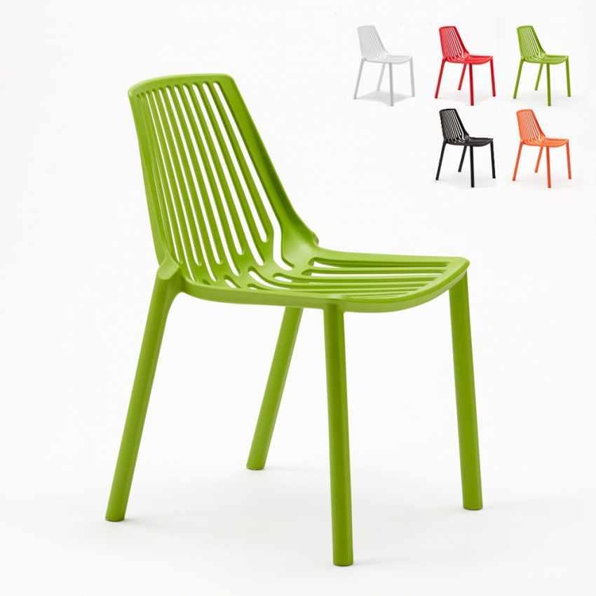 Sedie esterni ed interni per bar ristorante e giardino impilabile in polipropilene Design LINE - image