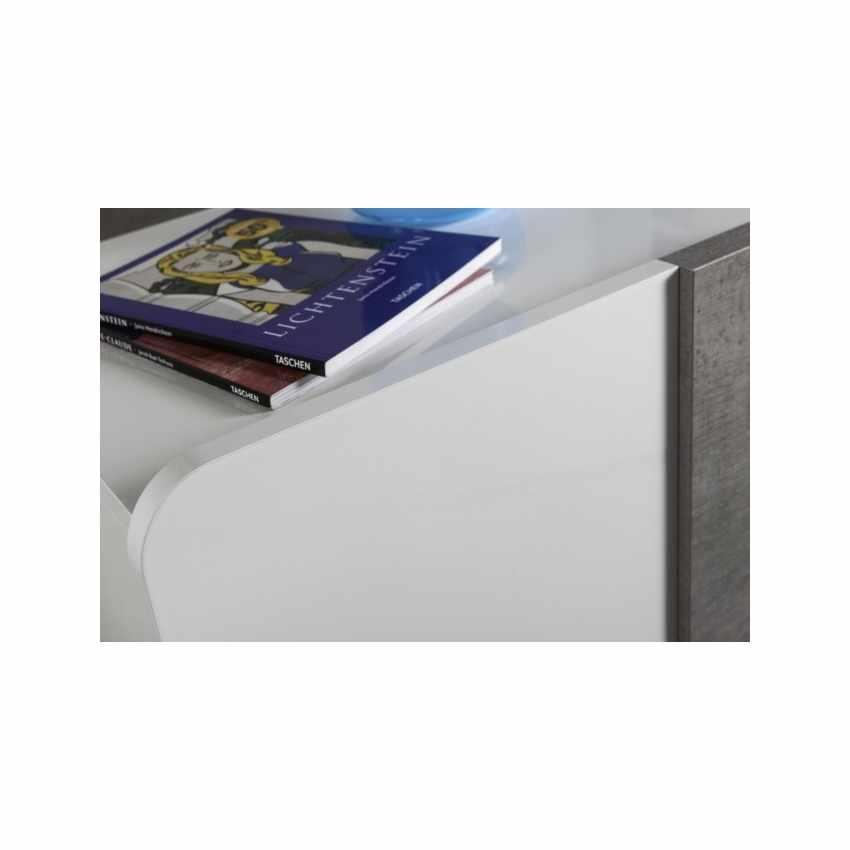 Comodino Con Cassetto Laccato Bianco Lucido Effetto Cemento - offerta