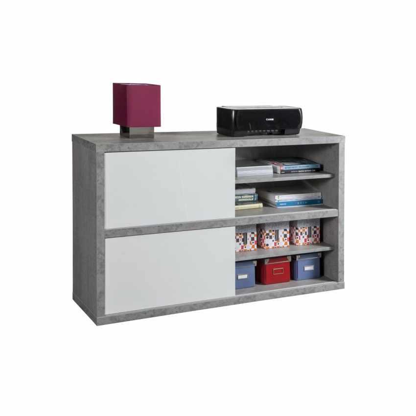 Mobile Porta TV Multiuso Con Ante Scorrevoli Colore Bianco Effetto Cemento  PRATICO