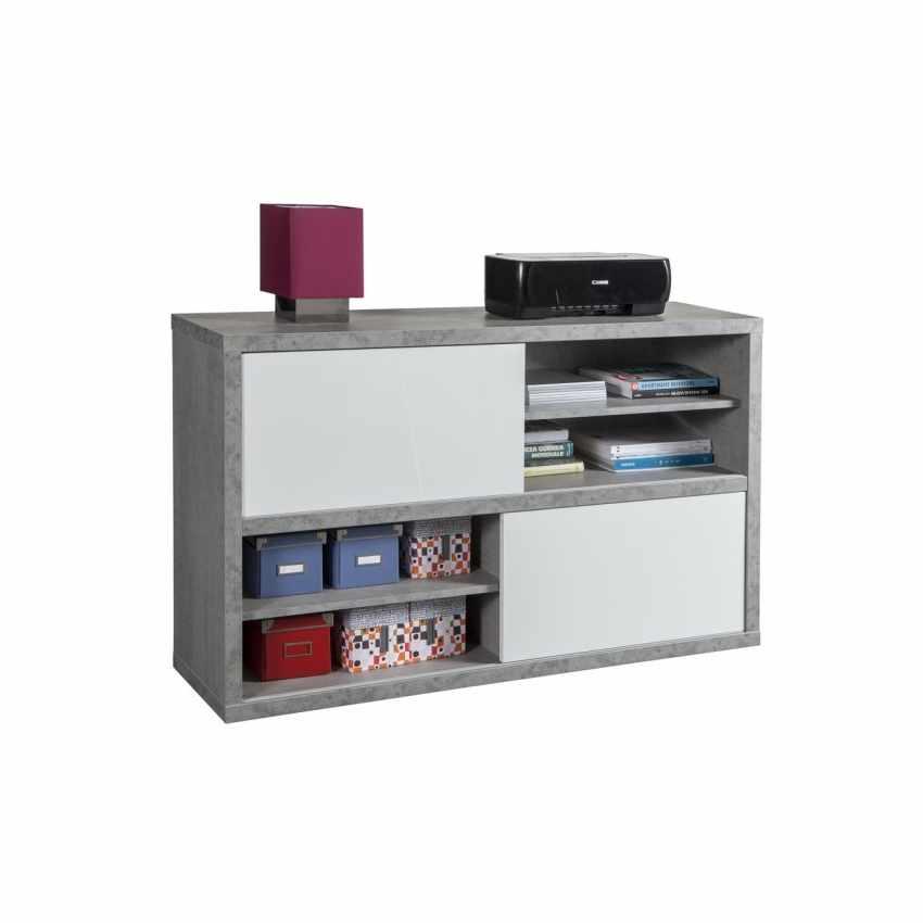 Mobile Porta TV Multiuso Con Ante Scorrevoli Colore Bianco Effetto Cemento PRATICO - price