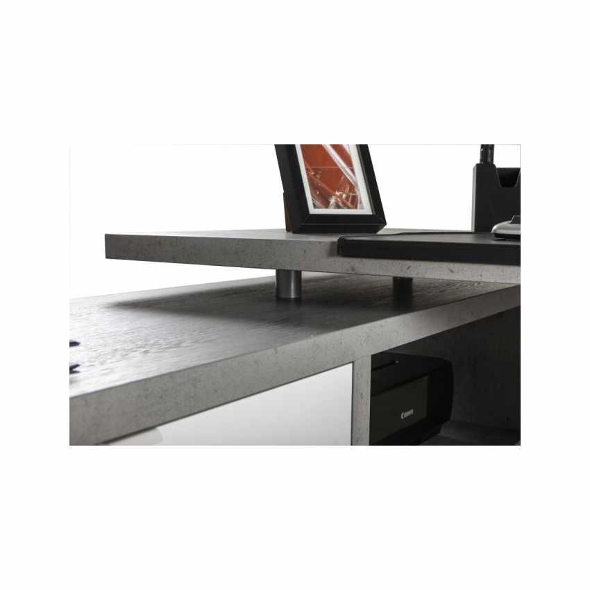 Scrivania Design Con Allungo Laterale E Cassetti Bianca Effetto Cemento SCHEMA - best