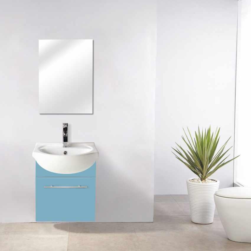 Complete Bathroom Set with Mirror Cabinet Sink in Lacquered Ceramic - dettaglio
