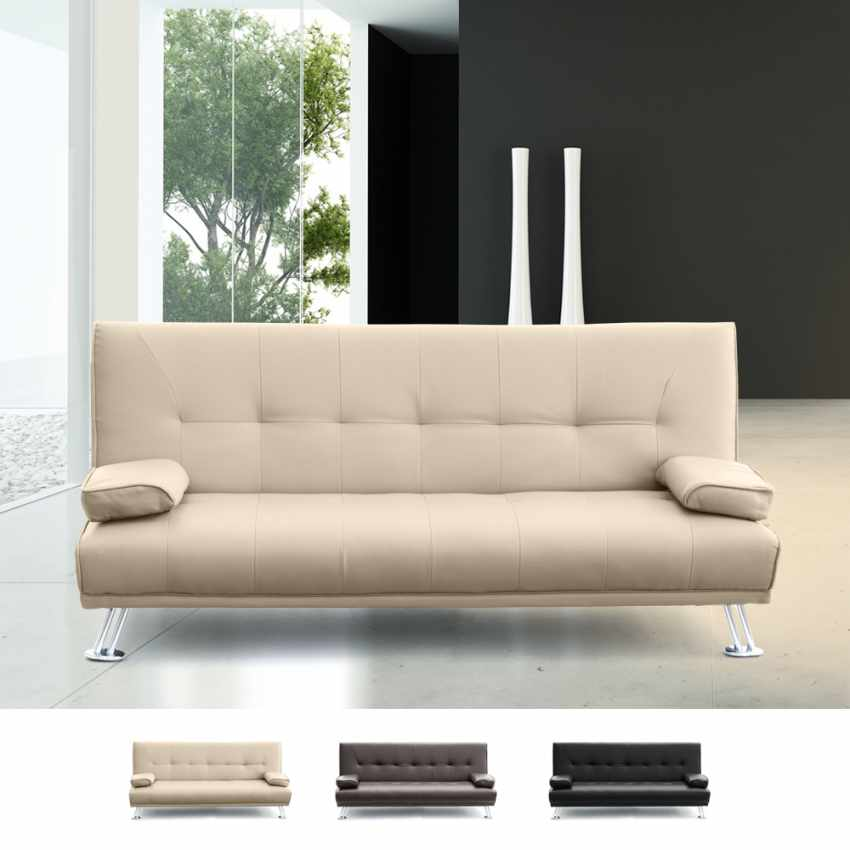 Sof cama biplaza de cuero artificial con reposabrazos olivina - Camas de cuero ...