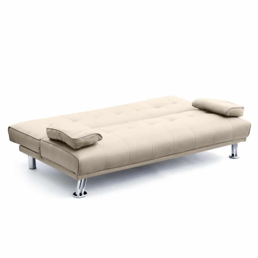 Divano letto 2 posti in ecopelle con braccioli OLIVINA per casa e locali pubblici pronto letto - sales