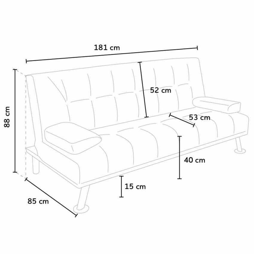 Canapé Clic Clac convertible double 2 Places en faux cuir avec accoudoirs OLIVINA pour la maison et les lieux publics -