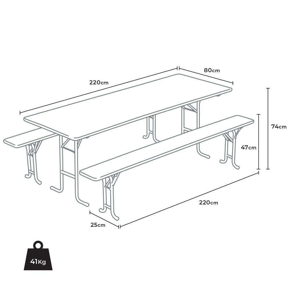 set tavolo size