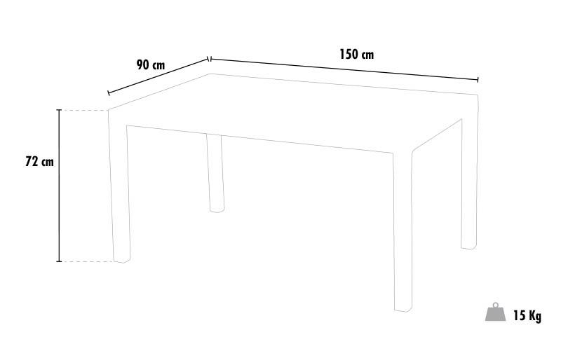 Tavoli Polyrattan rettangolari 150x90 Grand Soleil BOHEME